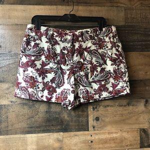 LOFT Cream & Burgundy Paisley Print Shorts